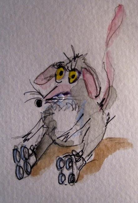 Art: Roller Skating Mouse by Artist Delilah Smith