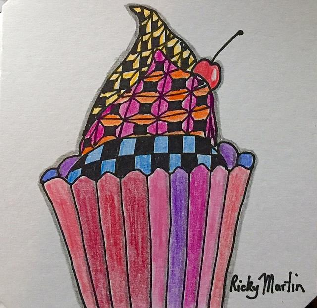Art: Zentangle Inspired Cupcake by Artist Ulrike 'Ricky' Martin