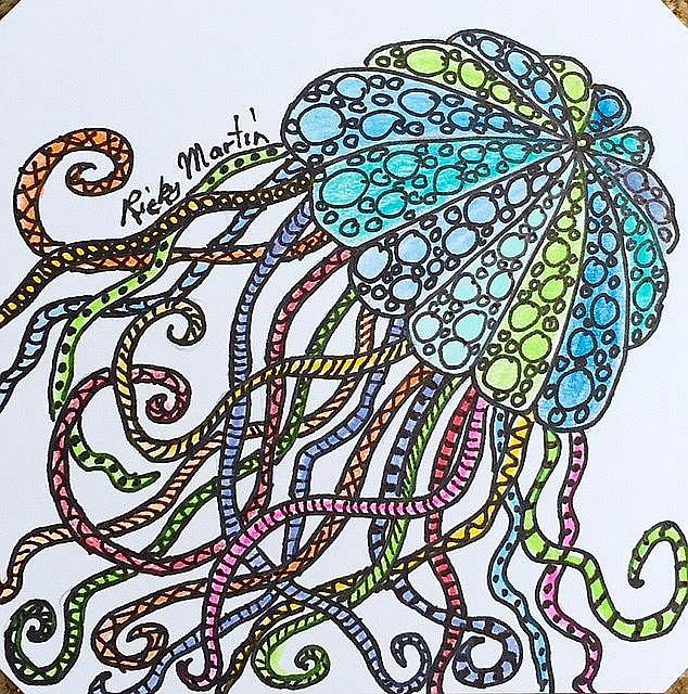 Art: Jellyfish Zentangle Inspired by Artist Ulrike 'Ricky' Martin