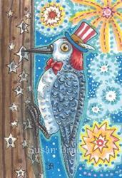 Art: KNOCK KNOCK AN AMERICAN WOODPECKER by Artist Susan Brack