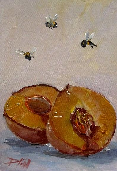 Art: Peach with Bee's by Artist Delilah Smith