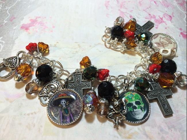 Art: Day of the Dead  Altered art Charm Bracelet  soak by Artist Lisa  Wiktorek