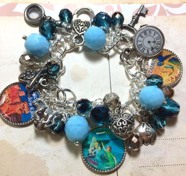 Art: Nancy Drew Altered art charm bracelet by Artist Lisa  Wiktorek