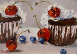 Art: Cupcakes Cherries and Blueberries by Artist Delilah Smith