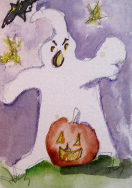 Art: Ghost and Pumkin by Artist Delilah Smith