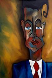 Art: Original Abstract Art Painting Lunatic Mentor by Artist Thomas C. Fedro