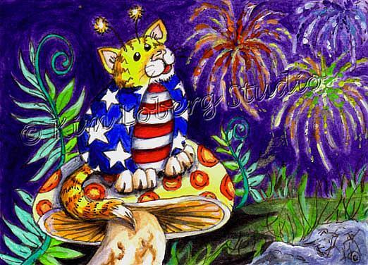 Art: Stars N Stripes Cat A Bug by Artist Kim Loberg