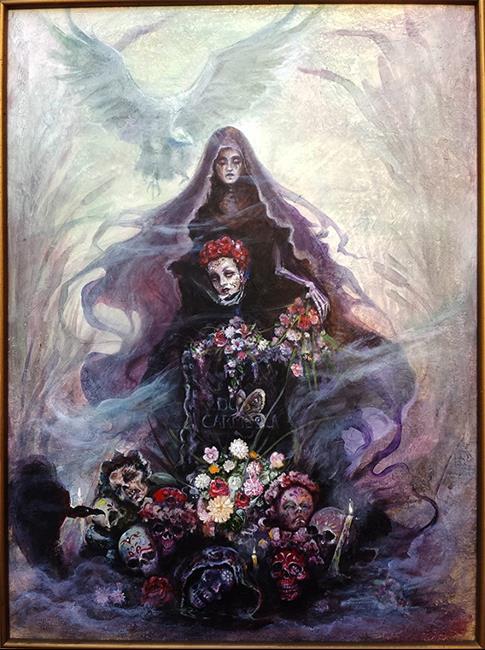 Art: Doña Carmela Leaving Offerings On Her Own Alter by Artist Valerie Meijer