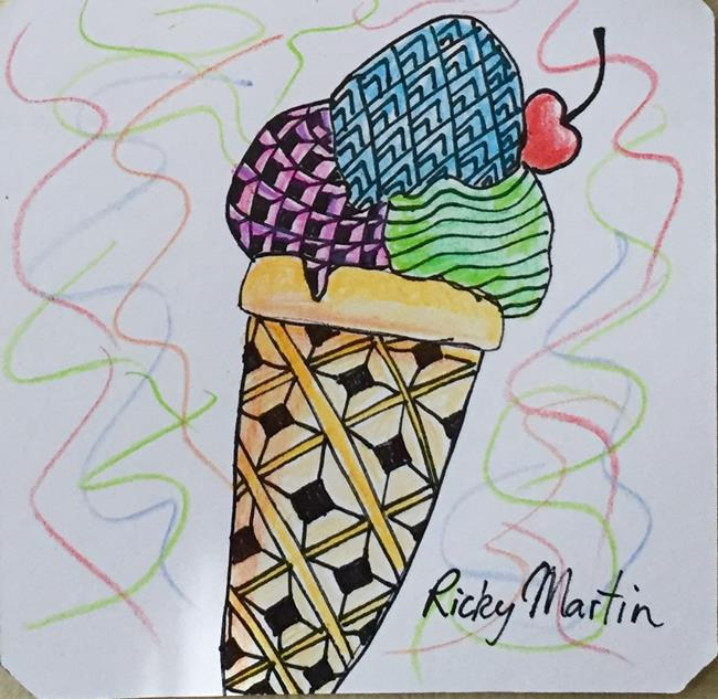 Art: Ice cream  Zentangle inspired by Artist Ulrike 'Ricky' Martin