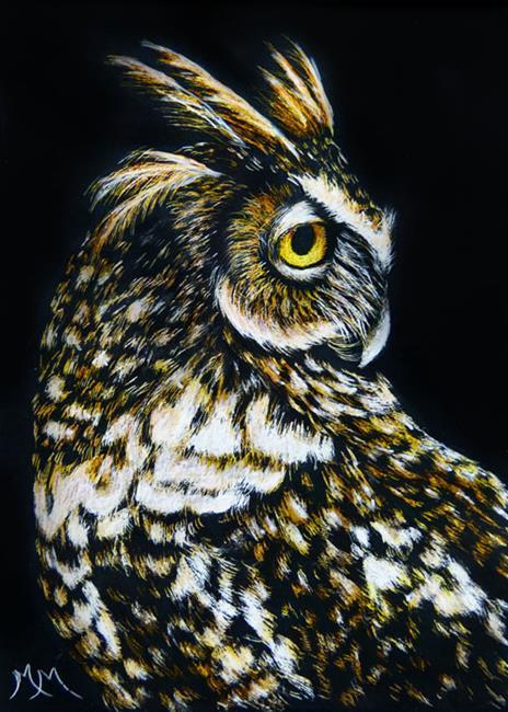 Art: Owl III  (SOLD) by Artist Monique Morin Matson
