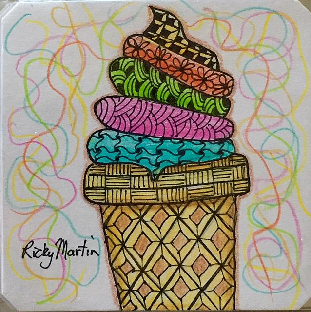 Art: ice cream cone zentangle inspired by Artist Ulrike 'Ricky' Martin