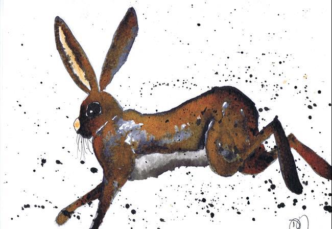 Art: RUNNING HARE h3106 by Artist Dawn Barker