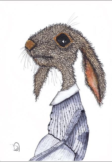 Art: DRESSED HARE h3107 by Artist Dawn Barker