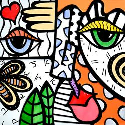 Art: Original Abstract Pop Art Hold My Hand by Artist Thomas C. Fedro