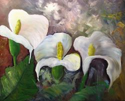 Art: Three Calla Lilies by Artist Barbara Haviland