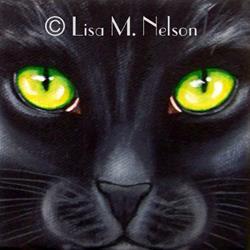 Art: Black Cat Face Macro by Artist Lisa M. Nelson