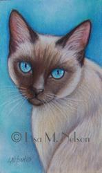 Art: Siamese Cat Portrait by Artist Lisa M. Nelson