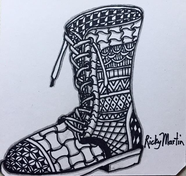 Art: Old Boot - Zentangle inspired by Artist Ulrike 'Ricky' Martin