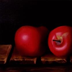 Art: Apples on an Old Crate by Artist Christine E. S. Code ~CES~