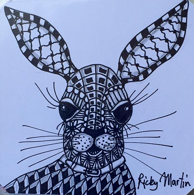 Art: Hare I Am - Zentangle Inspired by Artist Ulrike 'Ricky' Martin
