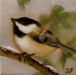 Art: Winter Chickadee by Artist Christine E. S. Code ~CES~