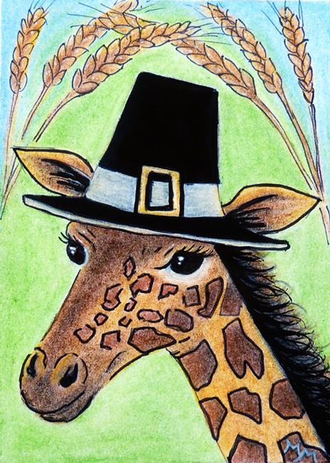 Art: Giraffe Pilgrim  (SOLD) by Artist Monique Morin Matson