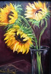 Art: Sunflowers Three in Vase by Artist Barbara Haviland