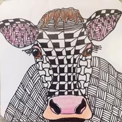 Art: Zentangle Inspired Cow by Artist Ulrike 'Ricky' Martin