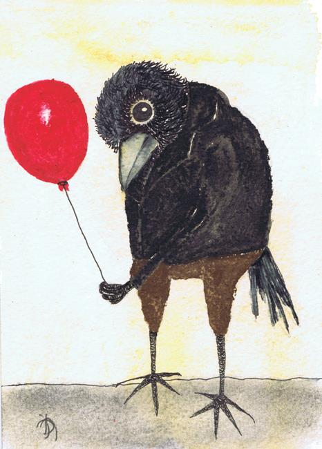 Art: CROW WITH BALLOON b207 by Artist Dawn Barker