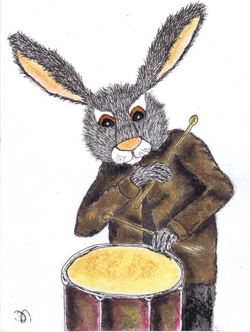Art: RABBIT ON DRUMS h3108 by Artist Dawn Barker
