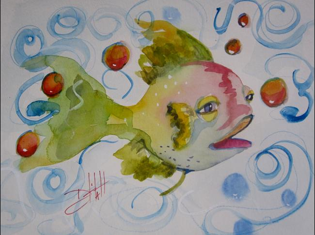 Art: Big Eyed Fish with Red Bubbles by Artist Delilah Smith
