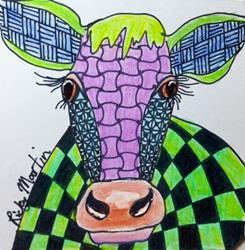 Art: Cow  Zentangle Inspired by Artist Ulrike 'Ricky' Martin