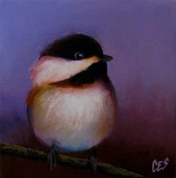 Art: Purple Chickadee Love by Artist Christine E. S. Code ~CES~