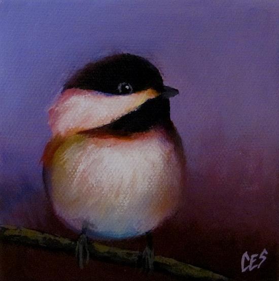 Art: Purple Chickadee Love by Artist Christine E. S. Code ~CES~