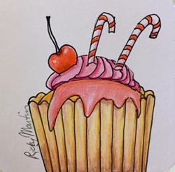 Art: Holiday Cupcake by Artist Ulrike 'Ricky' Martin