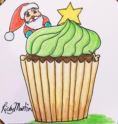 Art: Christmas  Cupcake by Artist Ulrike 'Ricky' Martin