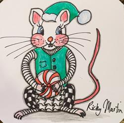 Art: Christmas Mouse by Artist Ulrike 'Ricky' Martin