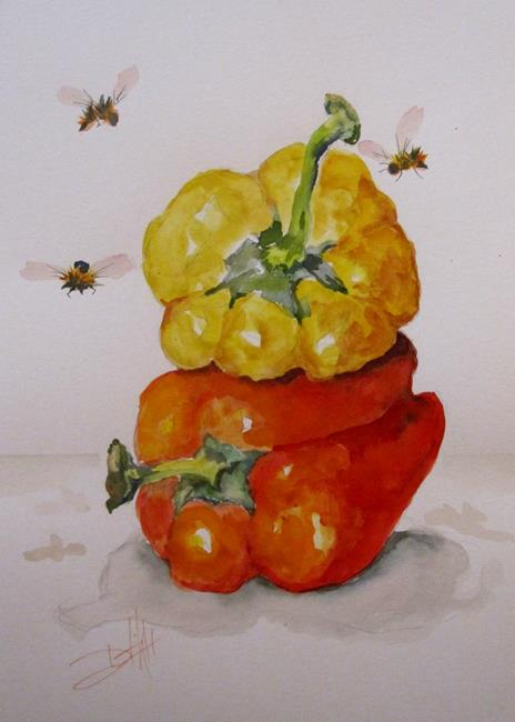 Art: Yellow and Red Peppers by Artist Delilah Smith