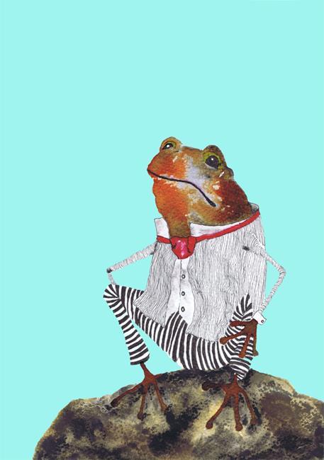 Art: FROG ON A ROCK f207 by Artist Dawn Barker