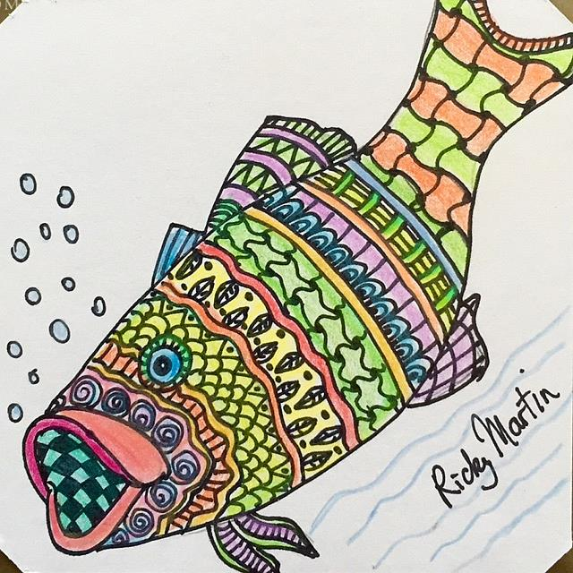 Art: Zentangle Inspired Fish by Artist Ulrike 'Ricky' Martin