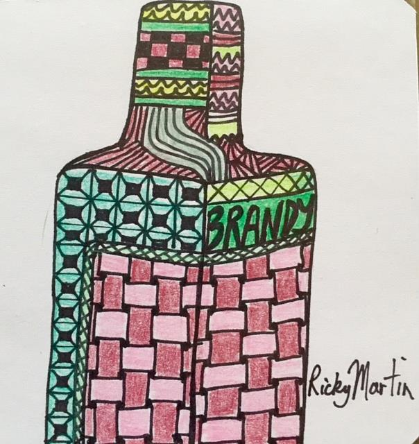 Art: Bottle Zentangle Inspired by Artist Ulrike 'Ricky' Martin