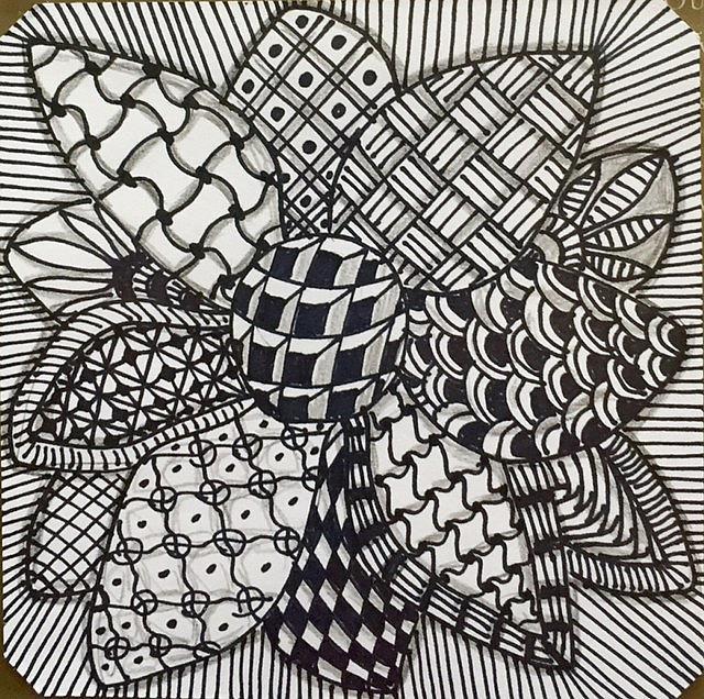 Art: Flower Zentangle Inspired by Artist Ulrike 'Ricky' Martin