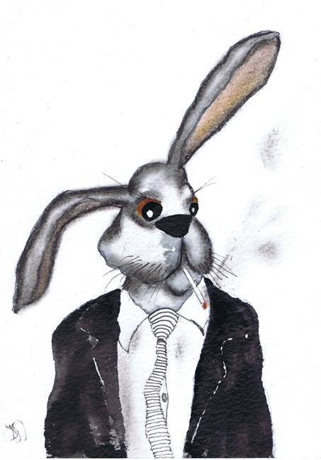 Art: SMOKING JOE hare h3110 by Artist Dawn Barker