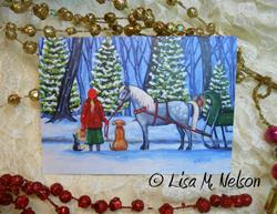 Art: Winter Holidays Greeting Cards of my Original Painting by Artist Lisa M. Nelson