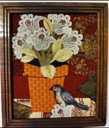 Art: Bird & Pot by Artist Vicky Helms
