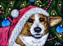 Art: Christmas Corgi by Artist Monique Morin Matson