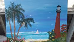 Art: Jupiter Beach Lighthouse by Artist christi lynn schwartzkopf