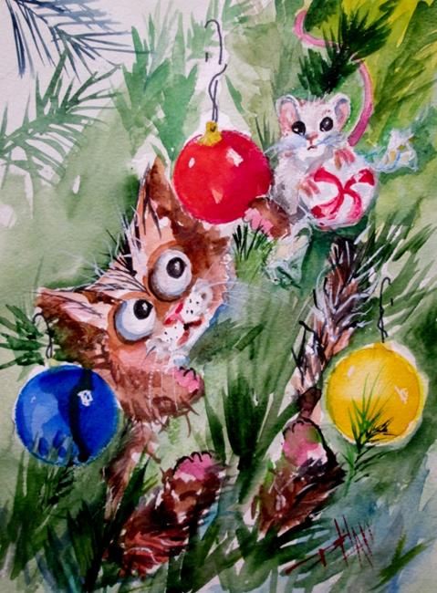 Art: Christmas Cat and Mouse by Artist Delilah Smith