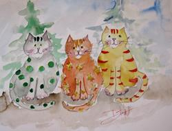Art: Christmas Cats by Artist Delilah Smith