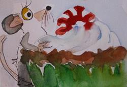 Art: Mouse and Cupcake by Artist Delilah Smith